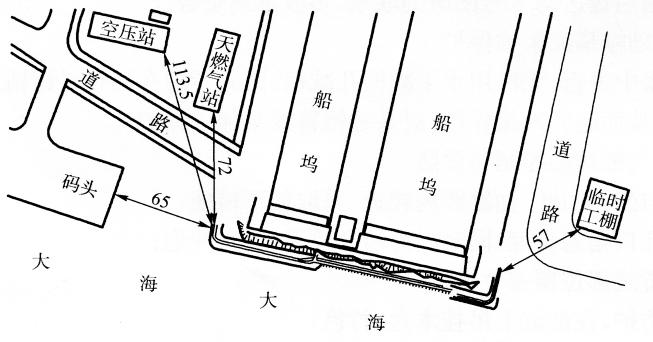 图17-4爆破周围环境平面图(尺寸单位:m)