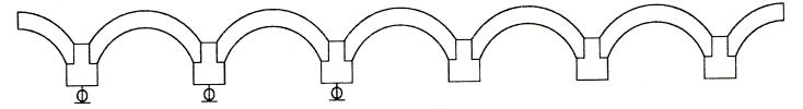图7-4矿山桥主跨机电百分表测点布置示意图
