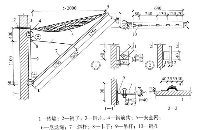 图4-7钢吊杆架设安全网