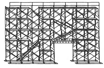 图5-28整体式门式钢管脚手架