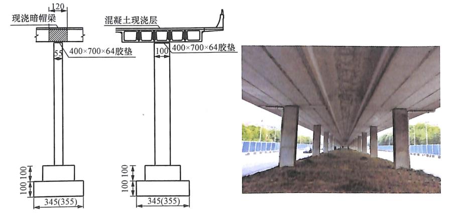 图8-4单排支座墩连接示意图及照片(单位:cm)