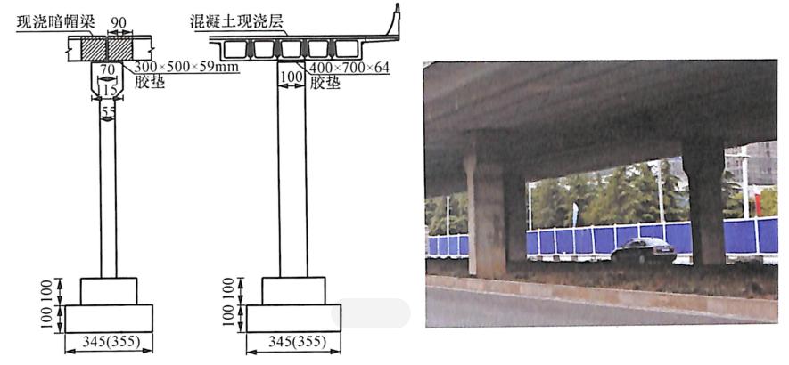 图8-5双排支座墩连接示意图及照片(单位:cm)