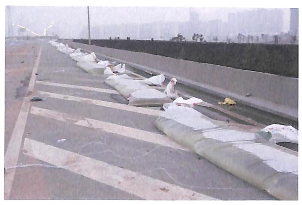 图8-45汪家嘴立交桥桥面水袋布设