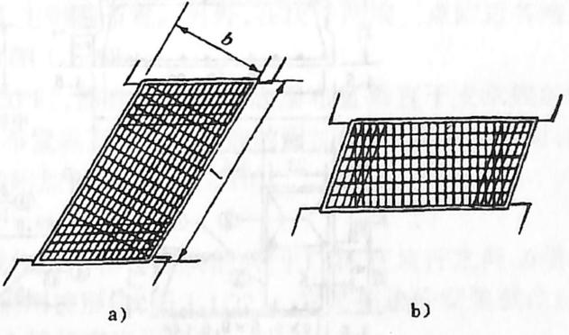 图1-1-15斜板桥布筋a)主筋平行于自由边;b)主筋垂直于支承边