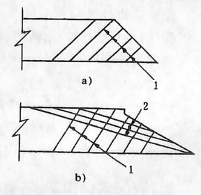 图1-1-21斜板桥块件附加钢筋布置1-底层附加钢筋;2-顶层附加钢筋
