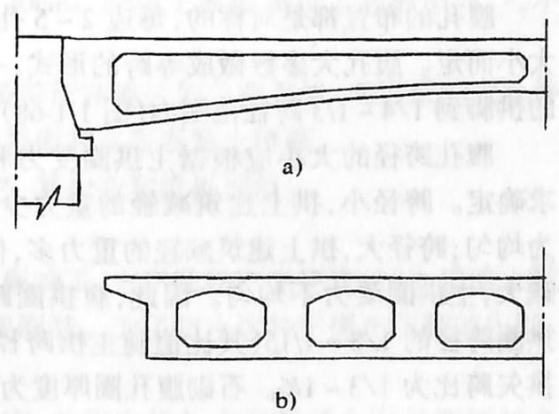 图1-1-67空心两铰平板拱桥构造a)半纵断面;b)半横断面