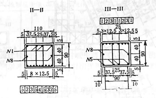 图2-1-148双柱式框架台台帽配筋构造 尺寸单位:cm