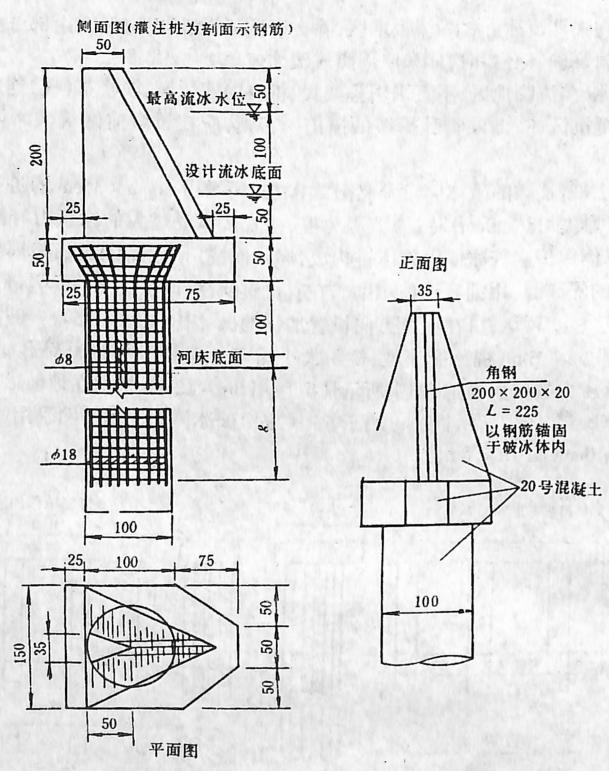 图2-1-154双柱式墩台破冰体构造图
