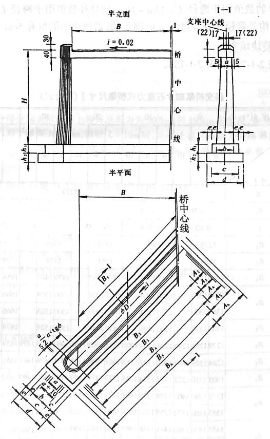 图2-1-180斜交桥浆砌片石重力式桥墩(联合式) 尺寸单位:cm
