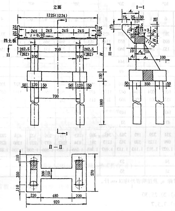 图2-1-199钢筋混凝土肋式桥台(T)