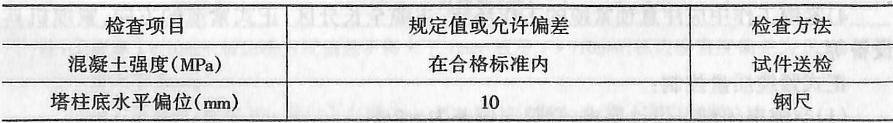 主塔施工精度要求表2-4-132