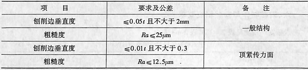 创边要求及分差表(mm)表2-4-136