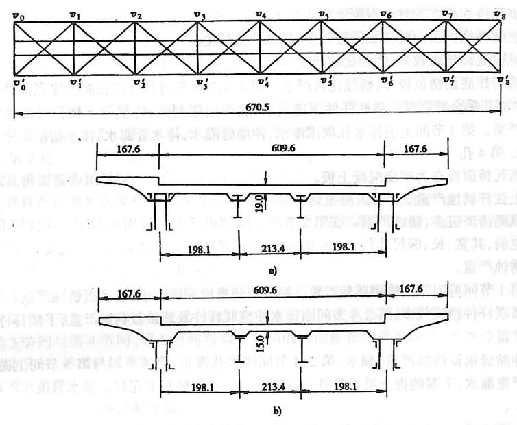 图3-68钢桁梁公路桥面系及公路钢筋混凝土桥面板示意图(单位:cm)
